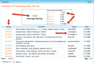 reviewing seller ratings